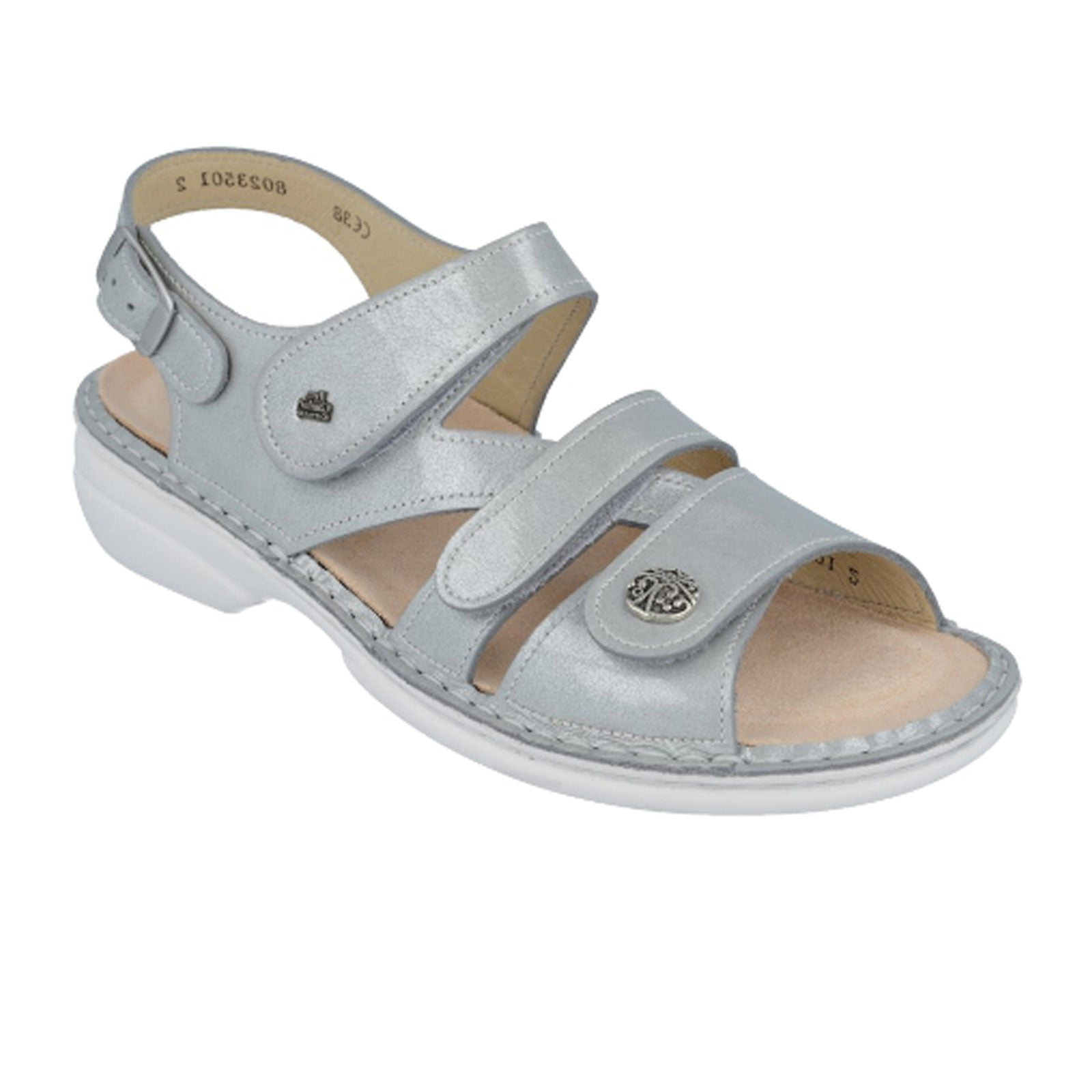 Finn Comfort Gomera-S (Women) - Grey Sandals|Backstrap Sandals - The Heel Shoe Fitters
