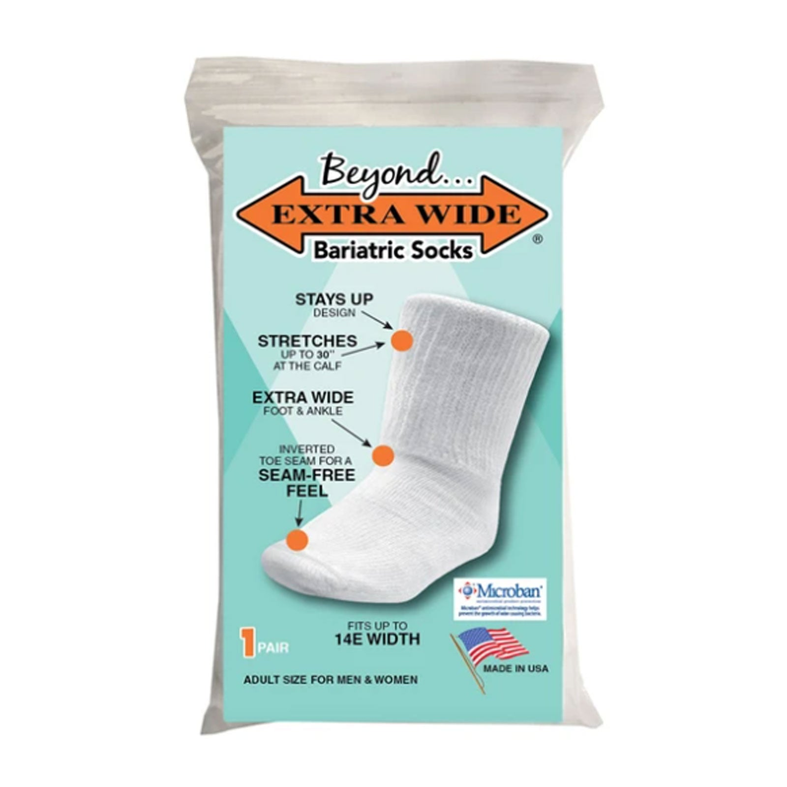 Extrawide Beyond Extra Wide Bariatric (Unisex) - White Socks - Life - Mid Crew - The Heel Shoe Fitters