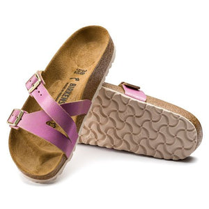 Birkenstock Yao Suede (Women)(N) - Washed Metallic Pink Sandals|Slide Sandals - The Heel Shoe Fitters