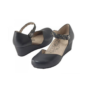 Aetrex Mia (Women) - Black Sandals|Wedge Sandals - The Heel Shoe Fitters