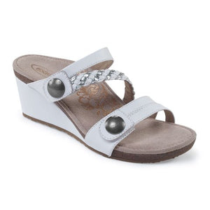 Aetrex Lydia (Women) - White Sandals|Wedge Sandals - The Heel Shoe Fitters