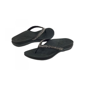 Aetrex Jules (Women) - Black Sandals|Thong Sandals - The Heel Shoe Fitters