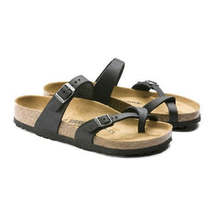 Birkenstock Mayari (Women) - Black Oiled Leather Sandals|Thong Sandals - The Heel Shoe Fitters