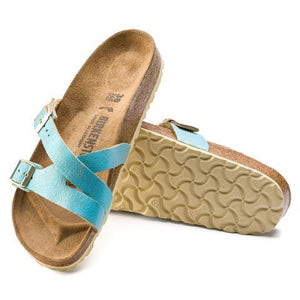 Birkenstock Yao Suede (Women)(N) - Washed Metallic Aqua Sandals|Slide Sandals - The Heel Shoe Fitters