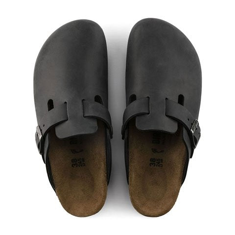 Birkenstock Boston (Unisex) - Black Oiled Leather Dress/Casual|Clogs & Mules - The Heel Shoe Fitters