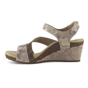 Aetrex Brynn Quarter Strap Wedge (Women) - Stone Snake Sandals|Wedge Sandals - The Heel Shoe Fitters