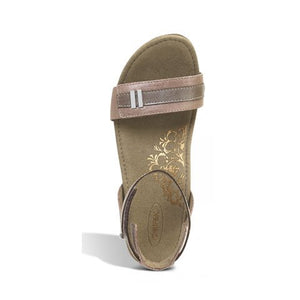 Aetrex Gia (Women) - Rose Sandals|Wedge Sandals - The Heel Shoe Fitters