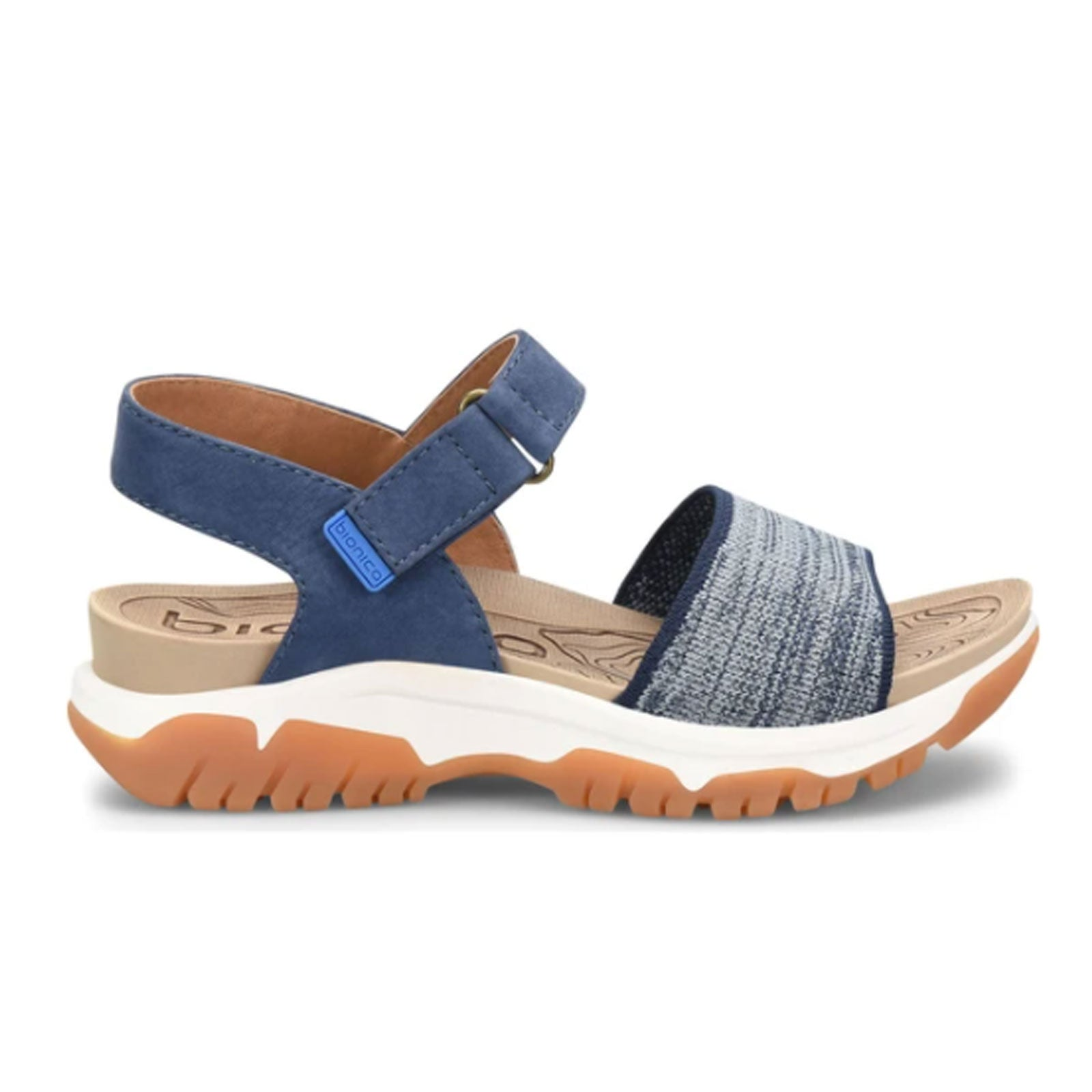 Bionica Nacola (Women) - Navy Heathered Sandals - Backstrap Sandals - The Heel Shoe Fitters