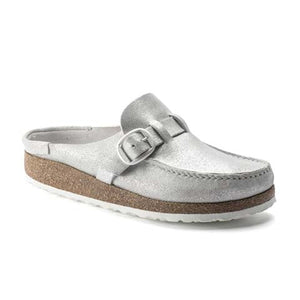 Birkenstock Buckley (Women)(N) - Washed Metallic Silver Dress/Casual|Slip Ons - The Heel Shoe Fitters