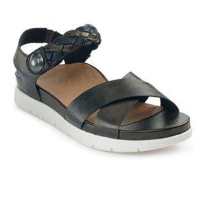 Aetrex Piper Braided (Women) - Black Sandals|Backstrap Sandals - The Heel Shoe Fitters
