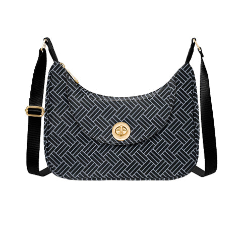 Baggallini Oslo Small Hobo Tote - Black Basketweave