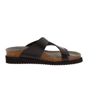 Mephisto Helen (Women) - Black Waxy Sandals|Thong Sandals - The Heel Shoe Fitters