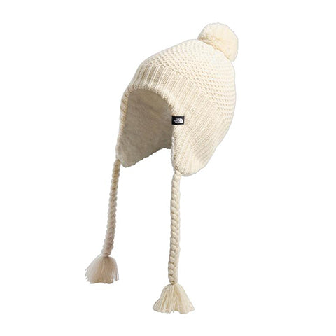 The North Face Purrl Stitch Earflap Beanie (Women) Bleached Sand/Vintage White Outerwear - Headwear - Beanie - The Heel Shoe Fitters