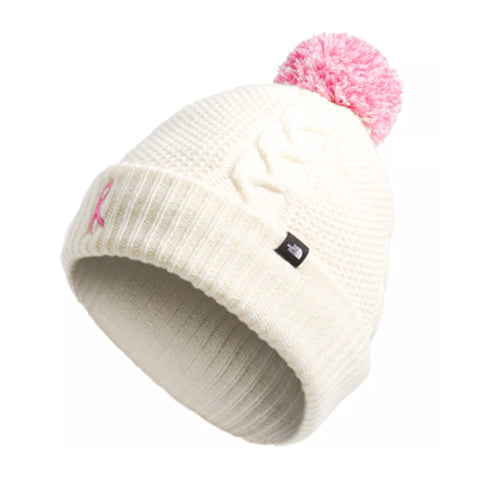 The North Face Pink Ribbon Cable Minna Beanie (Women) - Vintage White Outerwear - Headwear - Beanie - The Heel Shoe Fitters