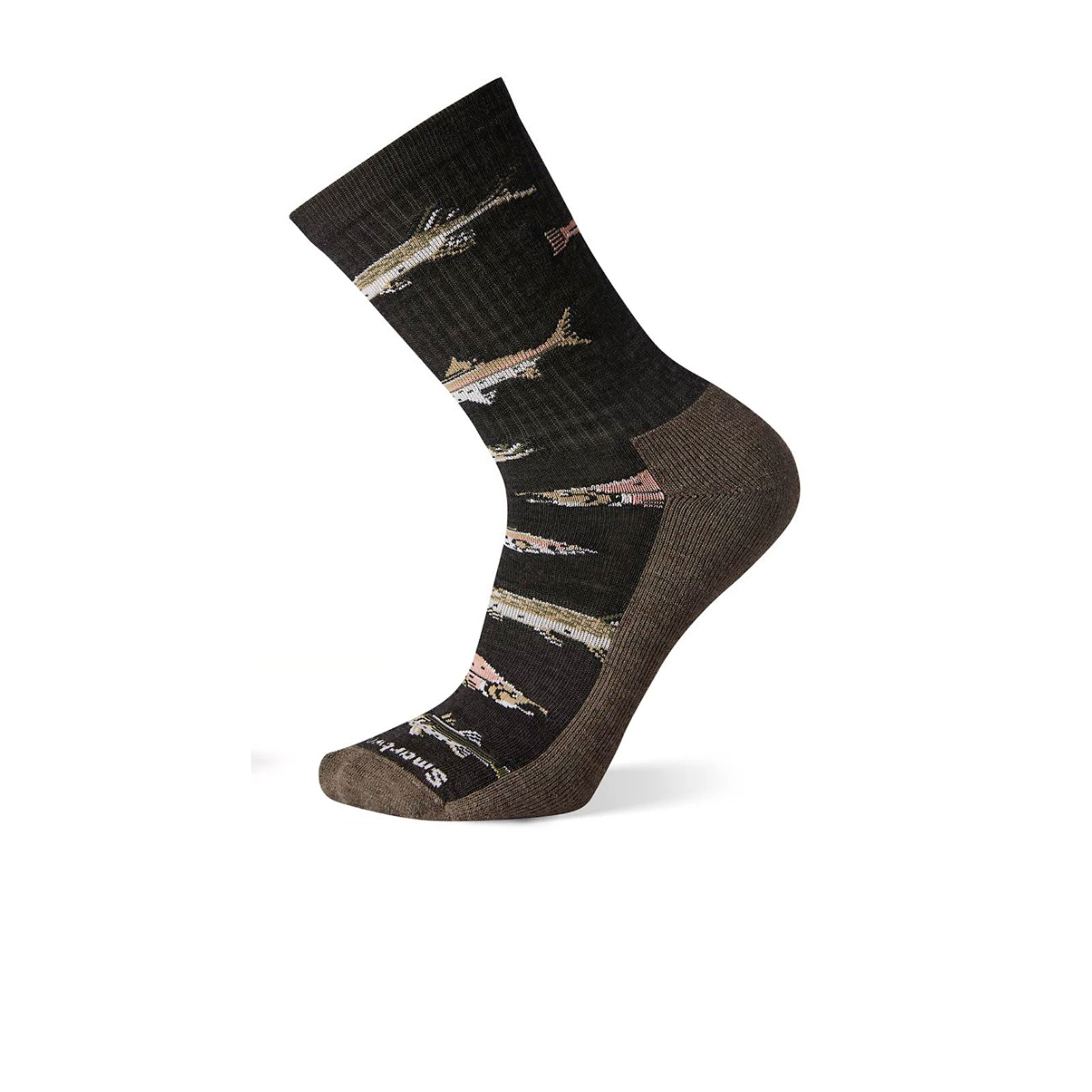 Smartwool Hike Light Fish Pattern Crew (Men) - Charcoal Socks - Life - Crew - The Heel Shoe Fitters