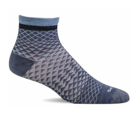 Sockwell Plantar Ease Quarter (Women) - Denim Socks - Comp - Crew - The Heel Shoe Fitters