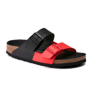 Birkenstock Arizona Split Birko-Flor (Women) - Black/Poppy Sandals|Slide Sandals - The Heel Shoe Fitters