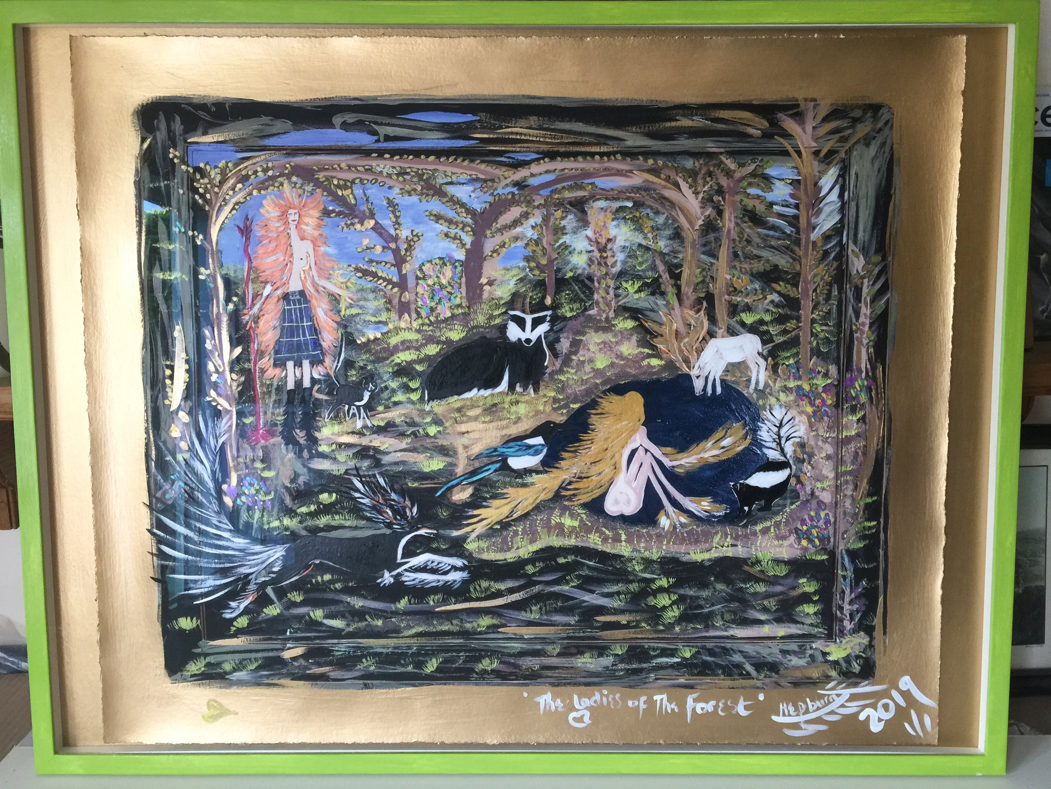 The Ladies of The Forest - Framed 90.5 x 70cm Unique