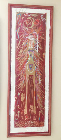 The Lady of Living - Hand painted custom frame 39.0 x 114.5 cm