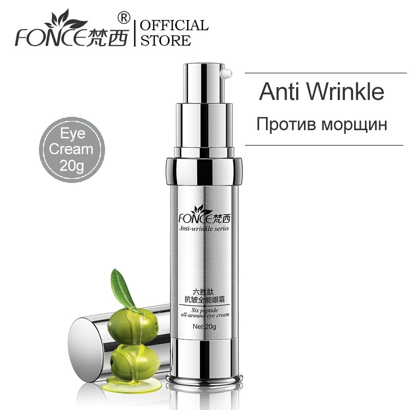 Anti Wrinkle Eye Cream Six Peptides Serum Anti Aging Remover Dark Circle Bag Firming nourish eye Balm Mask 20g