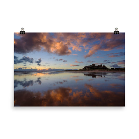 Bamburgh Castle Sunrise (Northumberland) Poster