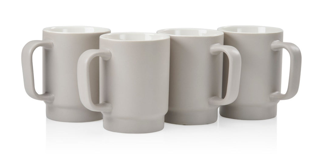 Matte Gray 12 oz. Coffee Mug (Set of 4)