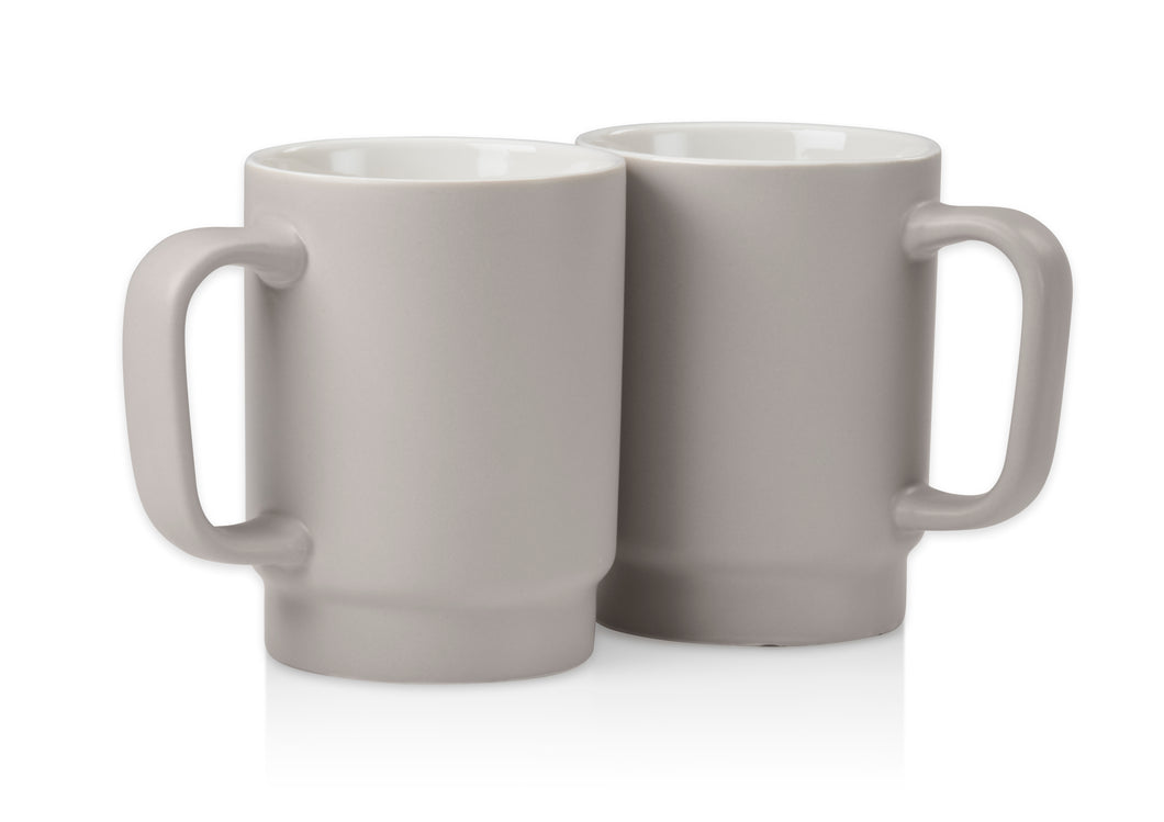 Gray 12 oz. Coffee Mug (Set of 2)