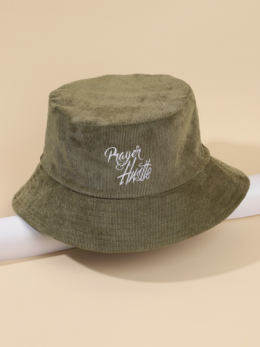 prayer and hustle army green corduroy bucket hat