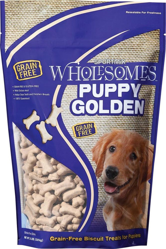 SPORTMiX Wholesomes Puppy Golden Biscuits Grain Free Dog Treats
