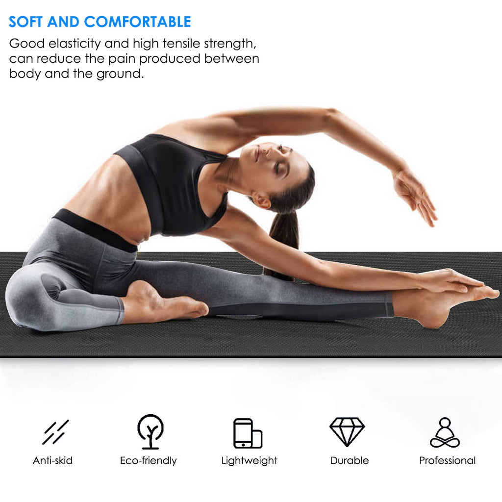 1/2-Inch Yoga Mat Home Gym Exercise Workout Mat 173*60*0.4cm Thick Yoga Mats for Women Men Non-Slip Fitness Meditation Accessory Tool, Multiple Colors