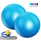 QUANFENG QF Exercise Balls 2 Pack Set Yoga Ball Supports 400lbs Multi-Color(75 cm, Blue)