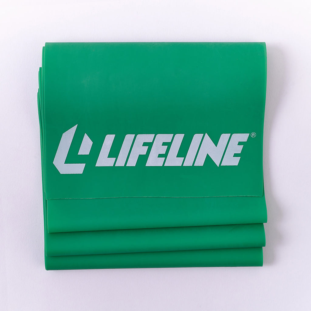 Lifeline Flat Resistance Band Kit for Increased Muscle Strength, Balance and Range of Motion - Levels 1, 2, 3
