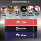 "Nylea 3 Pack Resistance Exercise Workout Bands [Free Travel Bag] 12"" Latex - Best for Training, Pilates, Powerlifting, Stretching, Physical Therapy, Yoga, Rehab and Home Fitness"
