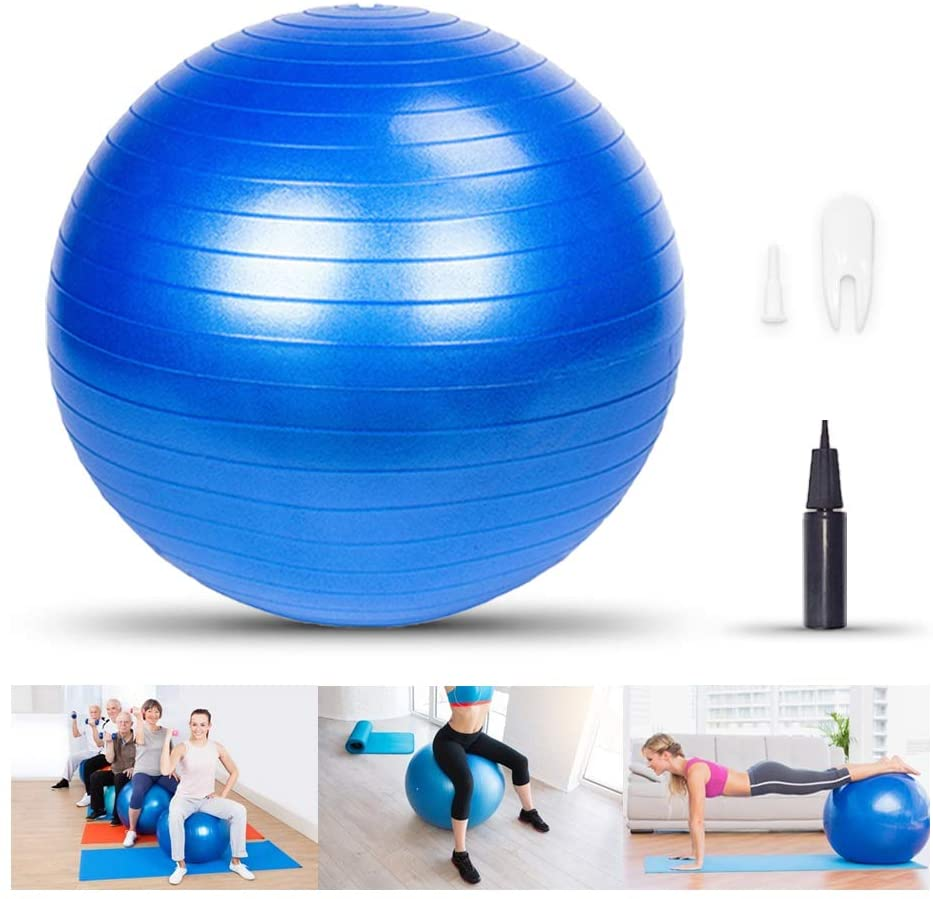 LIXOTO Yoga Ball, Exercise Ball Fitness Balls Stability Ball, 55cm 800g Balance Ball with Pump, Extra Thick Eco-Friendly & Anti-Burst Material Supports Over 2200lbs for Home, Gym, Office,Purple