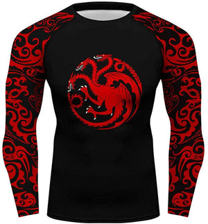 Men Long Sleeve Fitness Gym Top Dragon Printed T-Shirt Tight Tee