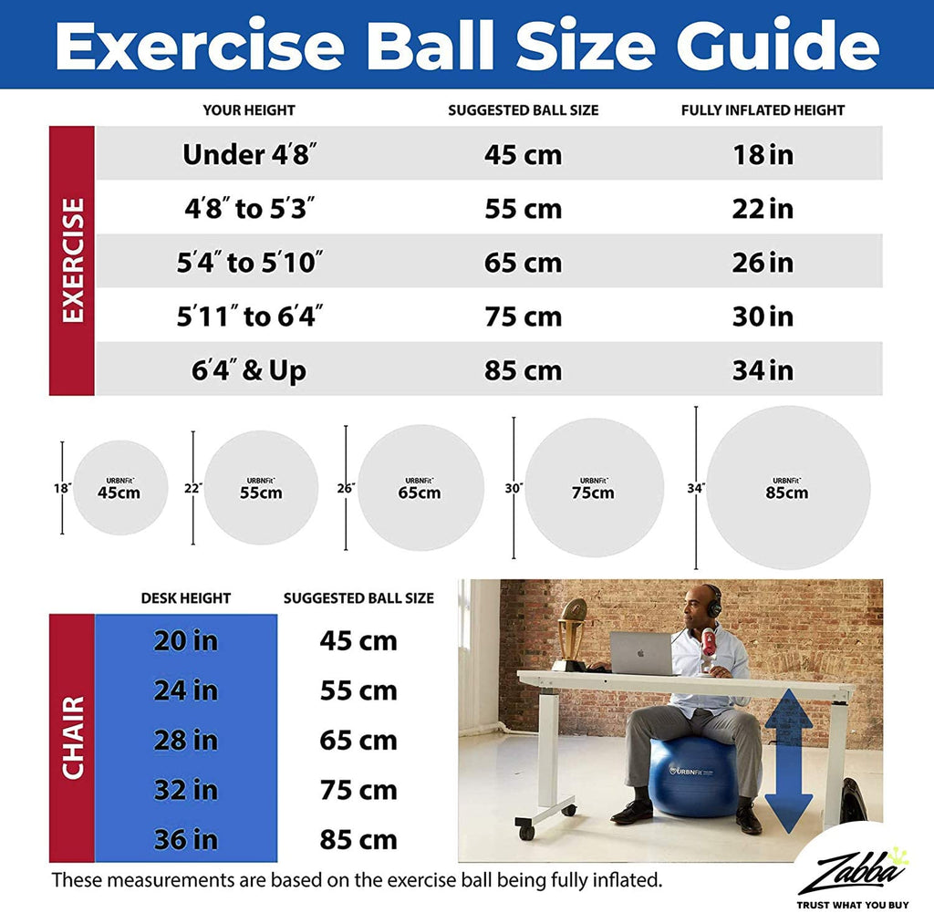 URBNFit Exercise Ball (Multiple Sizes) for Fitness, Stability, Balance & Yoga Ball - Workout Guide & Quick Pump Included - Anti Burst Professional Quality Design