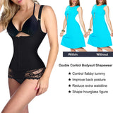 Nebility Women Latex Waist Trainer Bodysuit Tummy Slim Body Shaper Under Bust Girdle Shapewear