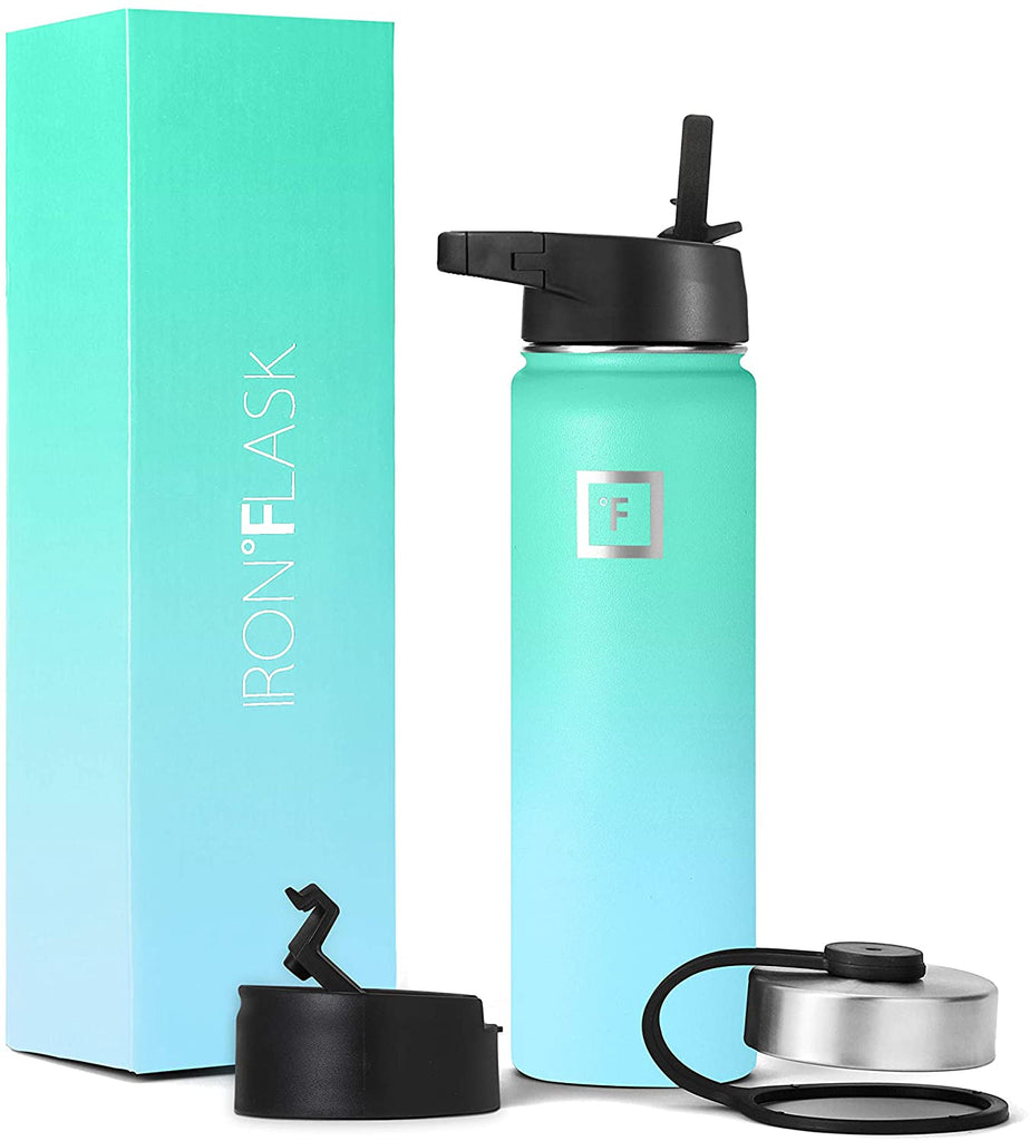 Iron Flask Sports Water Bottle - 14oz,18oz,22oz,32oz,40oz,64oz,3 Lids (Straw Lid),Vacuum Insulated Stainless Steel, Modern Double Walled, Simple Thermo Mug, Hydro Metal Canteen (32 Oz, Midnight Black)