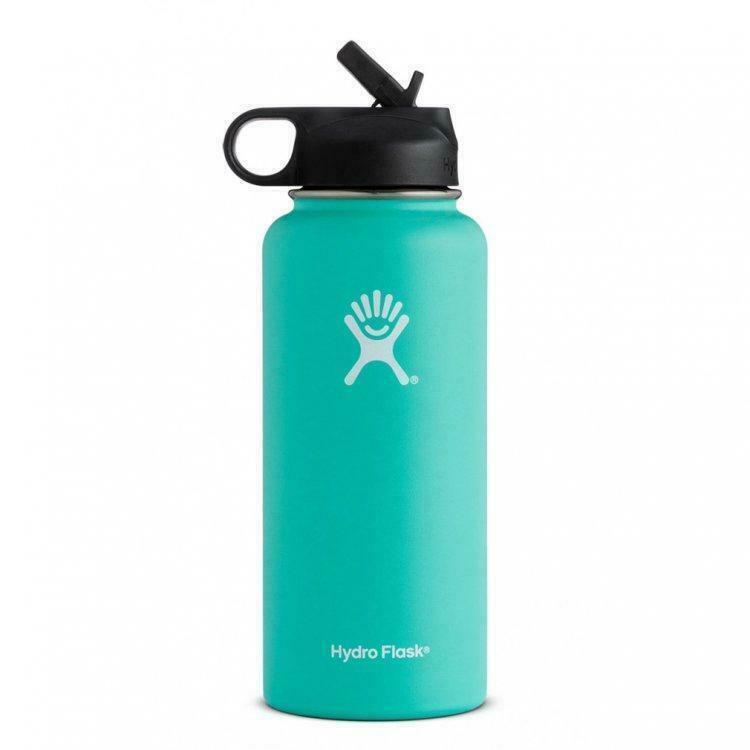 Hydro Flask Wide Mouth Water Bottle Stainless Steel, Straw Lid - 32Oz - Green