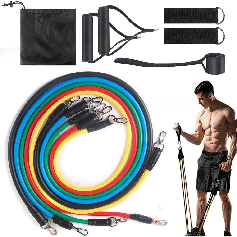11 Piece Set Multifunction Resistance Bands with Handles, Door Anchor,Pull rope,Tension Band Muscle Training Home Rally Belt, Fitness Equipment TPE Rally Kit Workout Bands for Total Body Exercise
