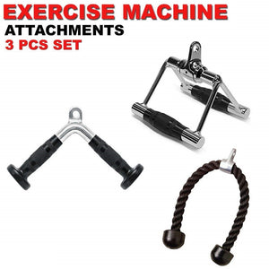 Home Gym Attachments Tricep Rope Seated Row Handle Revolving V Curl Bar