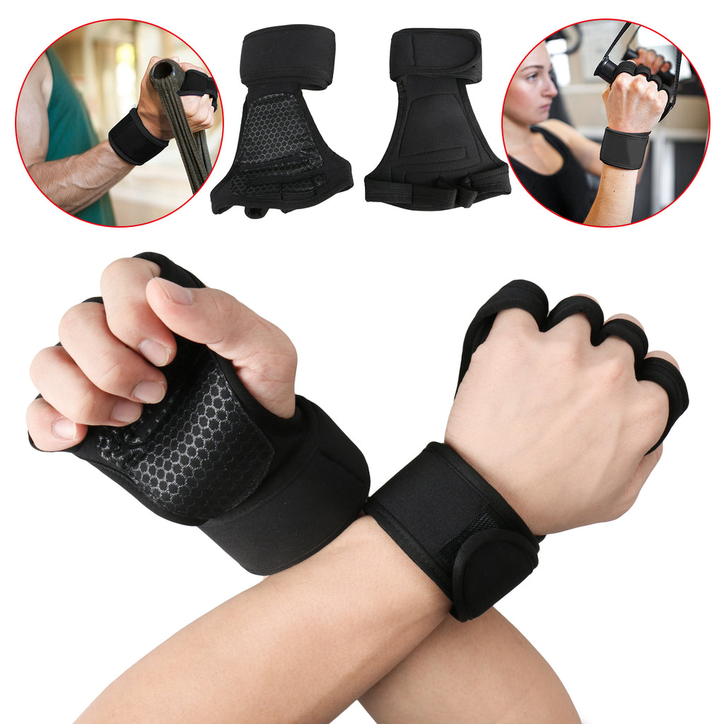 Crossfit Weight Lifting Gloves with Wrist Support for Gym Workout, Cross Training, Fitness, WOD, Pull Ups & Weightlifting. Strong Grip & Full Palm Protection, Wrist Wraps. Suits both Men & Women