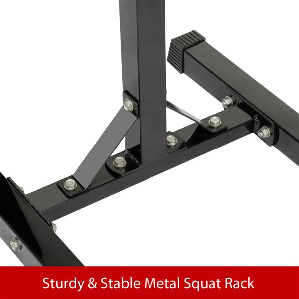 Yaheetech 2pcs Adjustable Rack Standard Solid Steel Squat Stands Barbell Free Press Bench