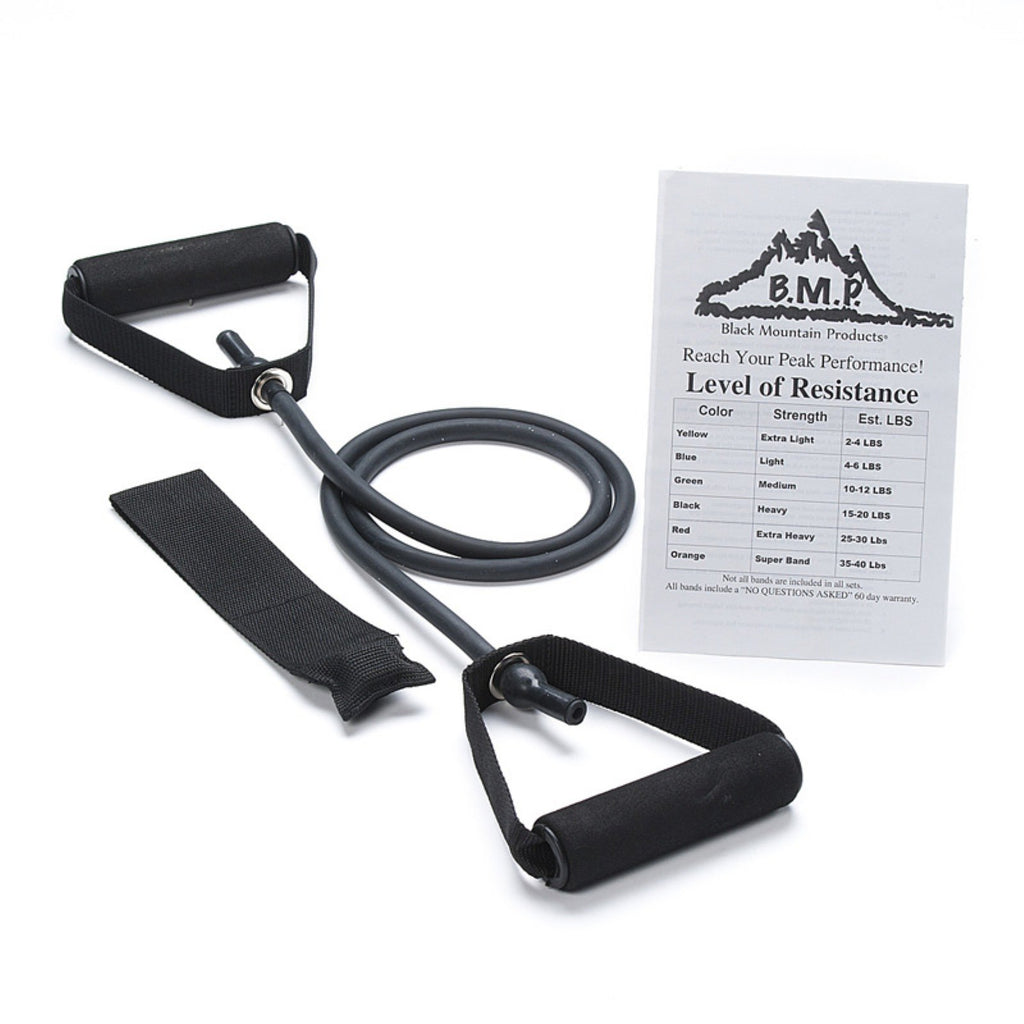 Black Mountain Products Single Resistance Band with Door Anchor and Starter Guide Included, Black