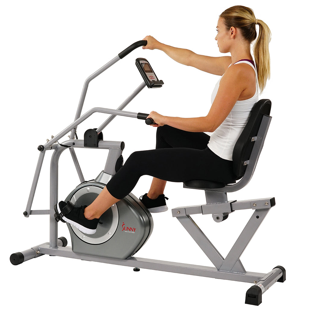 Sunny Health & Fitness SF-RB4708 Recumbent Exercise Bike, Cross Training, Arm Exercisers, Pulse Rate Monitoring