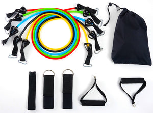BalanceFrom Resistance Band Set - Include 5 Stackable Exercise Bands with Carrying Bag, Door Anchor Attachment, Legs Ankle Straps