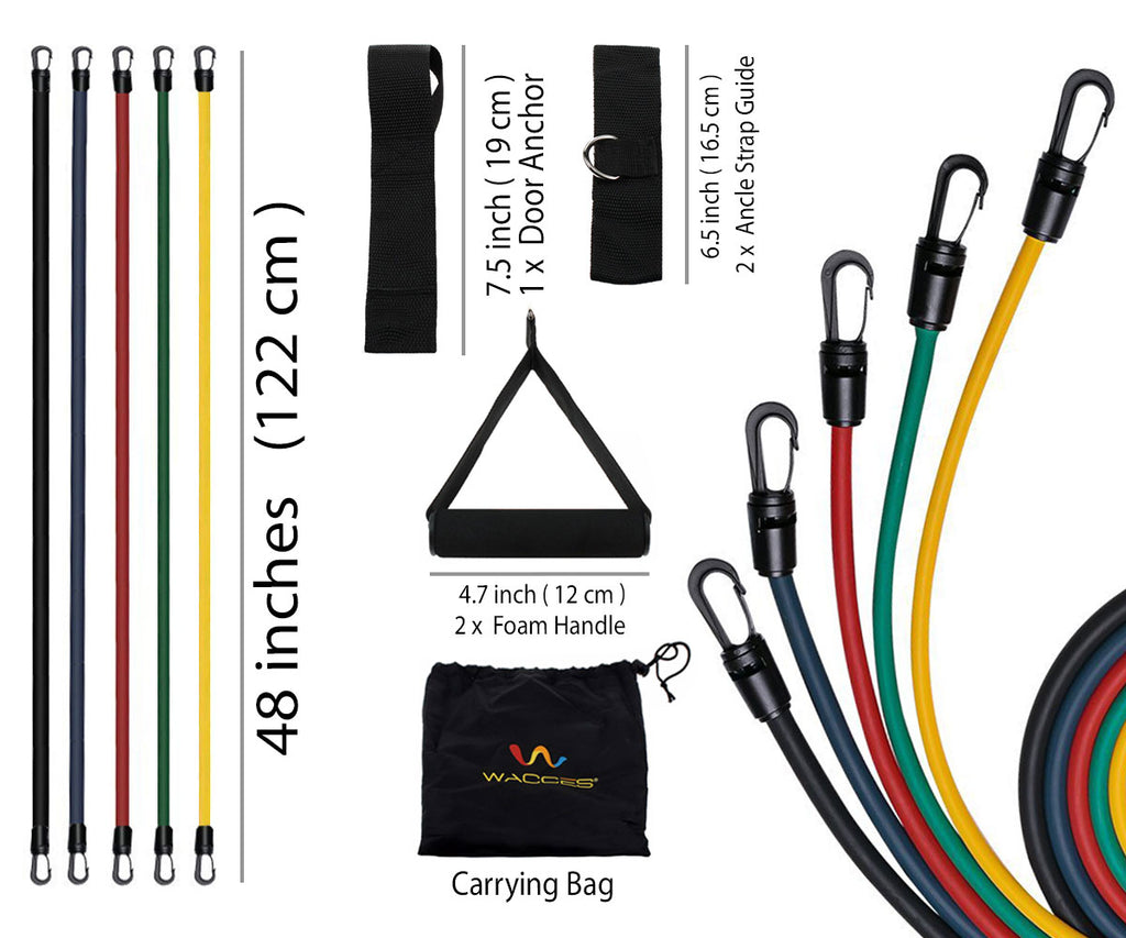Wacces Resistance Band Set with Door Anchor, Ankle Strap, Exercise Chart & Resistance Band Carrying Case, 11 Piece