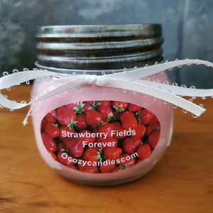 Strawberry Fields Forever Mason Jar 8 oz Treasure Candle  30 hour burn time - Ocozy Candles