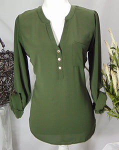Henley Neck Blouse
