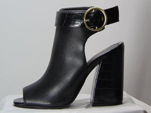Amber's Gold Buckle Black Wedge